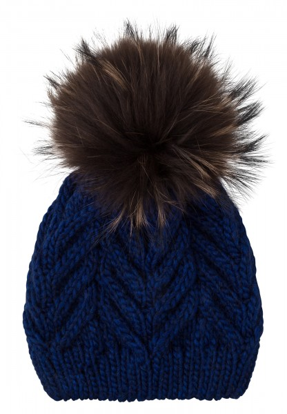 Cap with removable bobble made of real fur