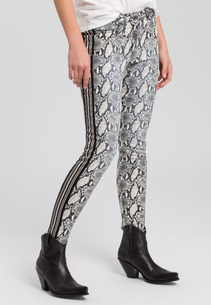 Pants with snake print and striped bands