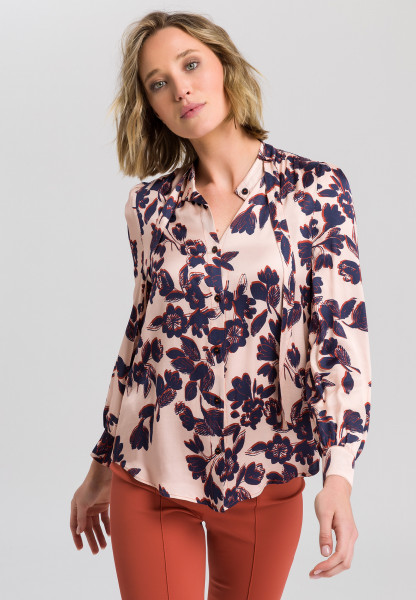 Satin blouse with floral print