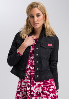 denim jacket with contrast patch