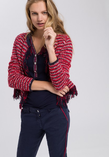 Knitted jacket with fringe details on the edges