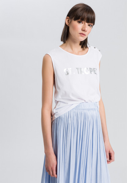 Blouse top with silver coloured lettering