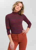 striped shirt with roll collar