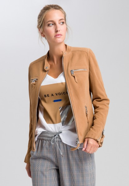 Leather jacket goat suede