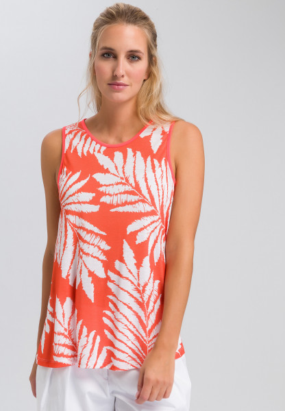 Tank top with leaf print