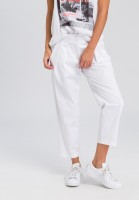 Pleat-front trousers made of elastic cotton satin