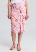 Jersey skirt with batik print