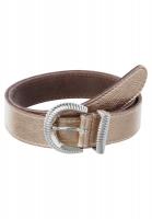 Leather belt in bronze look