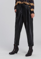 Pleated trousers imitation leather