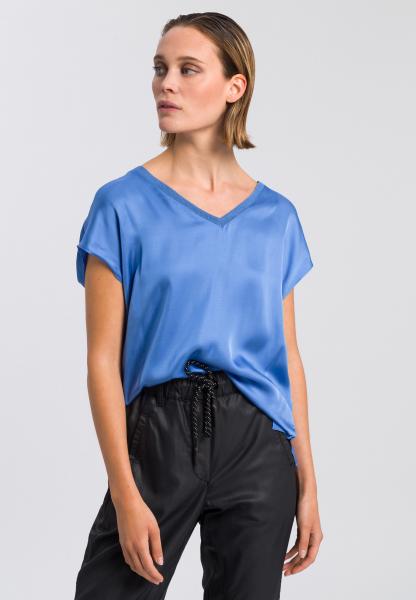 Satin shirt with V-neckline