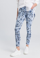 Jeans with floral print on the sides