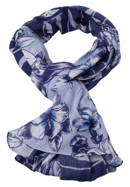 Rectangular Scarf with floral patchwork-pattern
