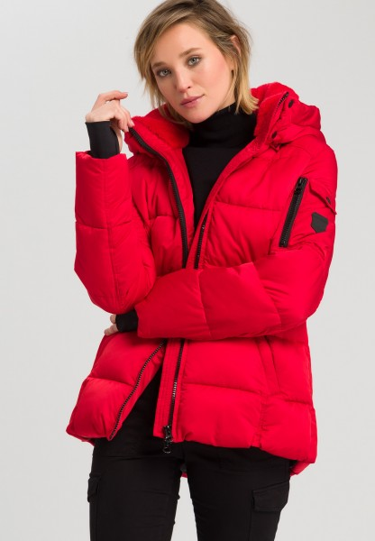 Outdoor jacket with cross stitching