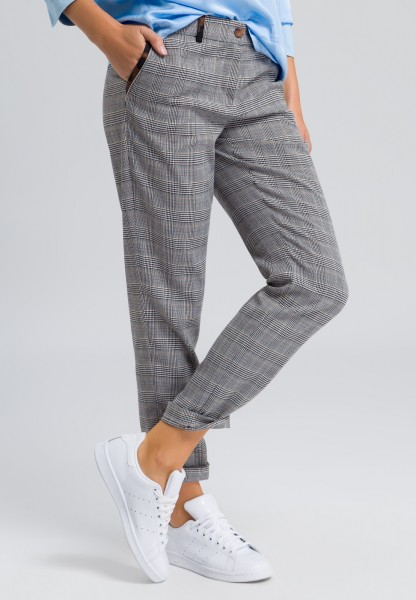 Checked trousers with leopard appliqués
